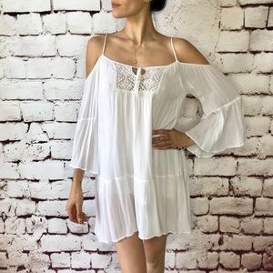 White boho tunic top with lace sz S flowy